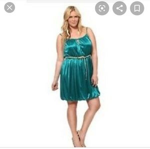 Torrid Teal Satin Bubble Skirt Dress